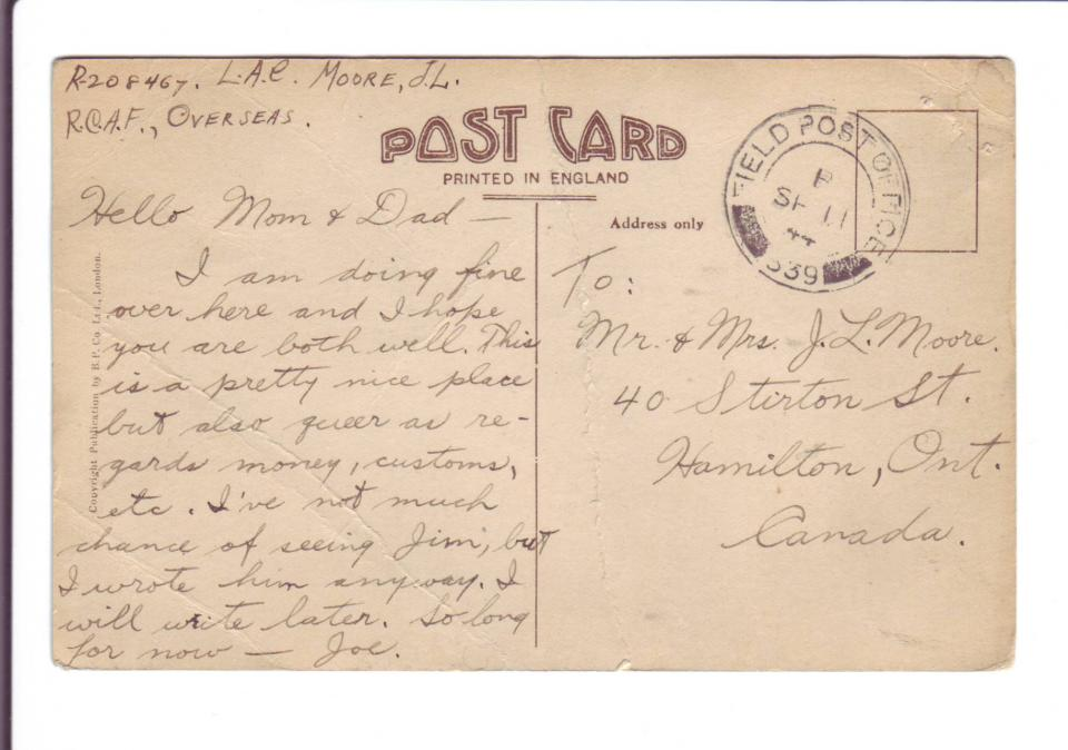 """Post Card of  """"Pier Approach"""" in Bournemouth September 11, 1944 Back"""