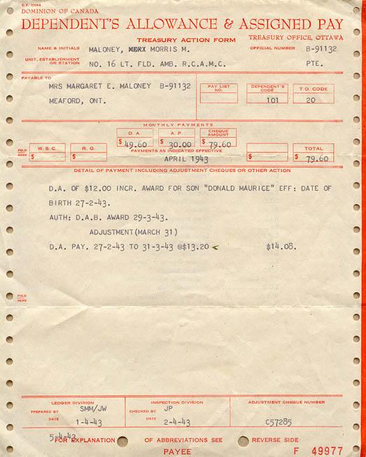 Dependent's Allowance and Assigned Pay sheet - 1943