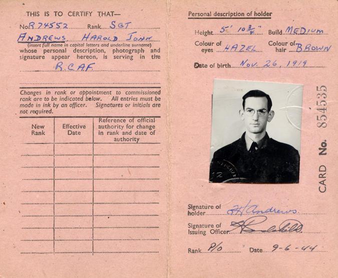 RAF Identification Card, back