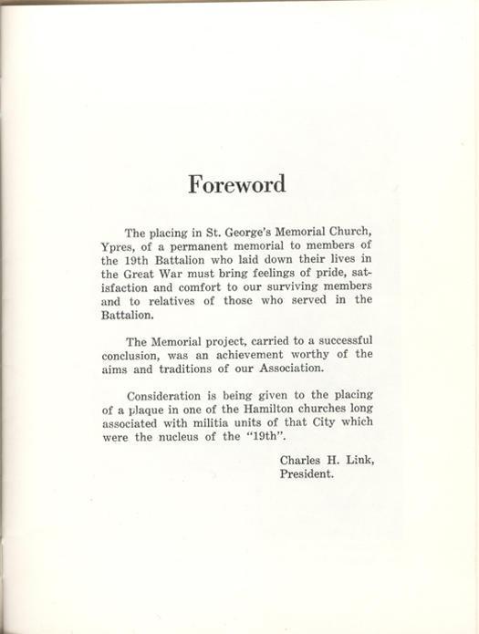 19th Battalion Association, forward