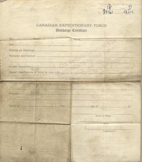 Discharge certificate, 1919, back.