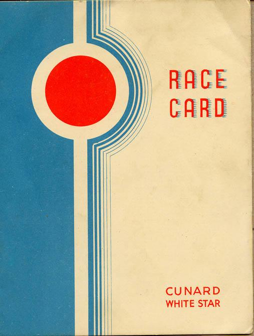 Race Card, front cover