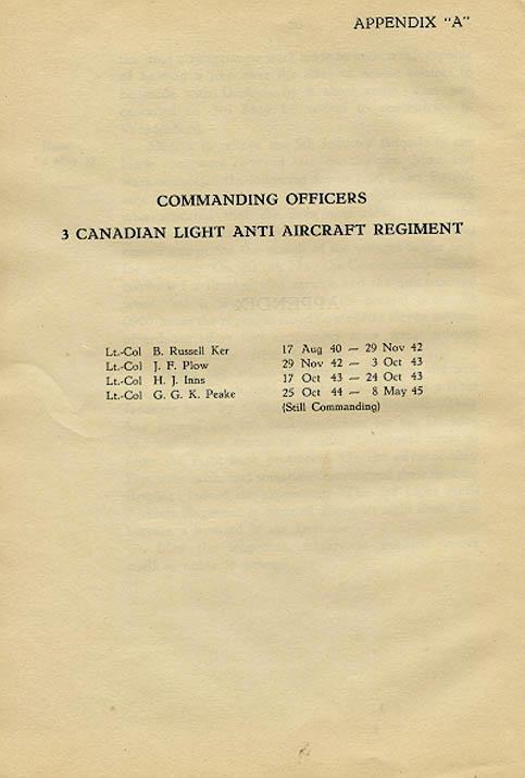 Regimental History, Appendix A