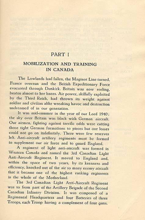 Regimental History, pg 1