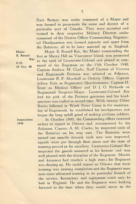 Regimental History, pg 2