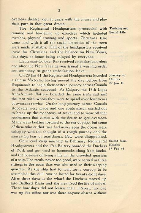 Regimental History, pg 3