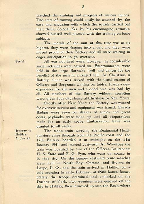 Regimental History, pg 8