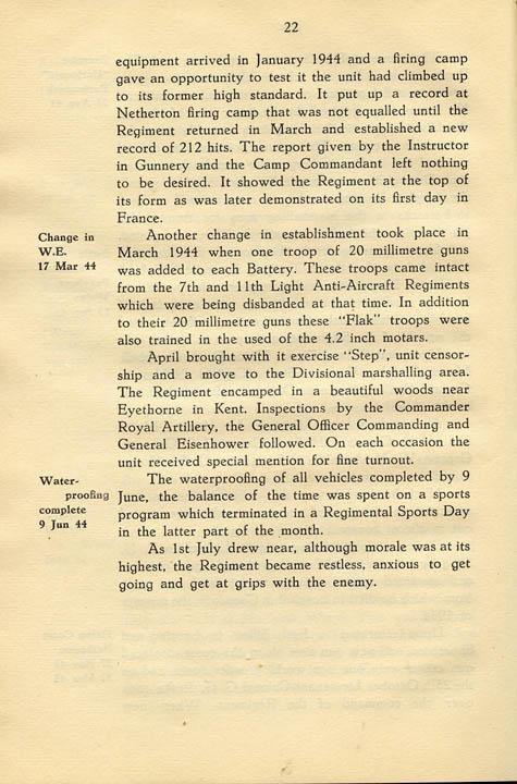 Regimental History, pg 22