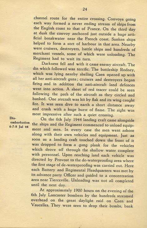 Regimental History, pg 24
