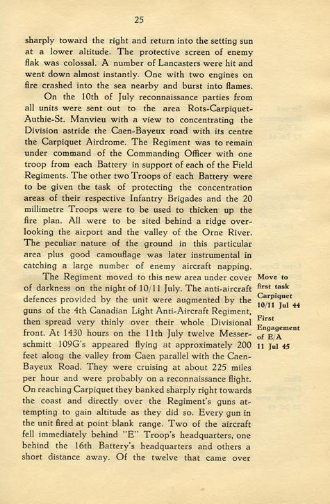 Regimental History, pg 25