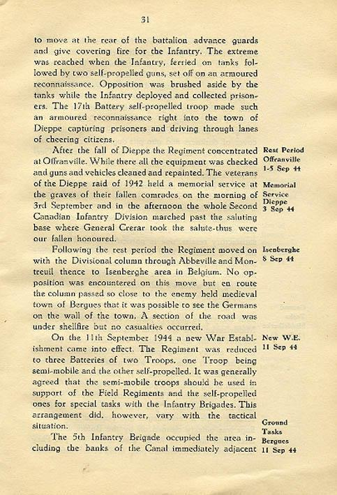 Regimental History, pg 31
