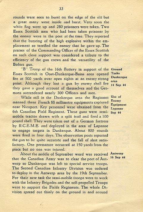 Regimental History, pg 33