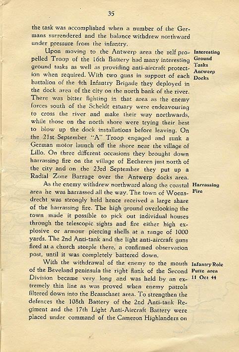 Regimental History, pg 35