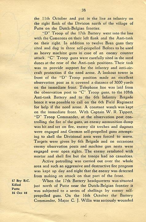 Regimental History, pg 38