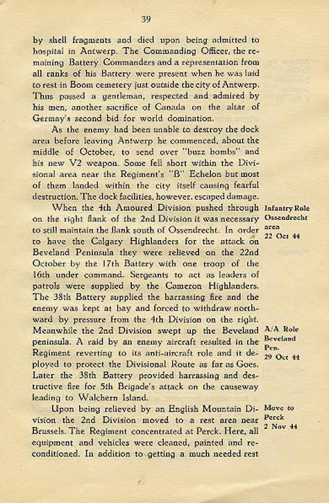 Regimental History, pg 39