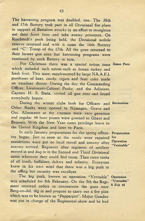 Regimental History, pg 43
