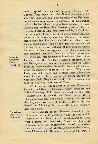 Regimental History, pg 44