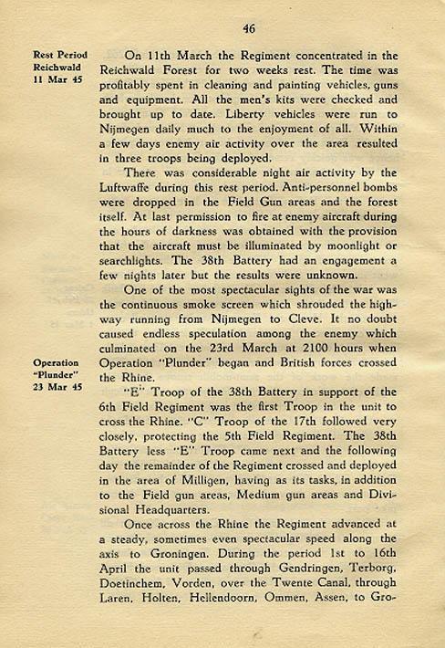 Regimental History, pg 46