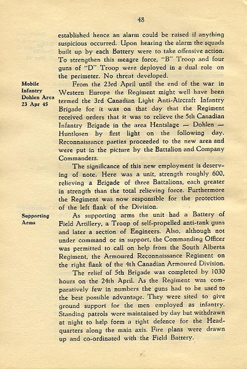 Regimental History, pg 48
