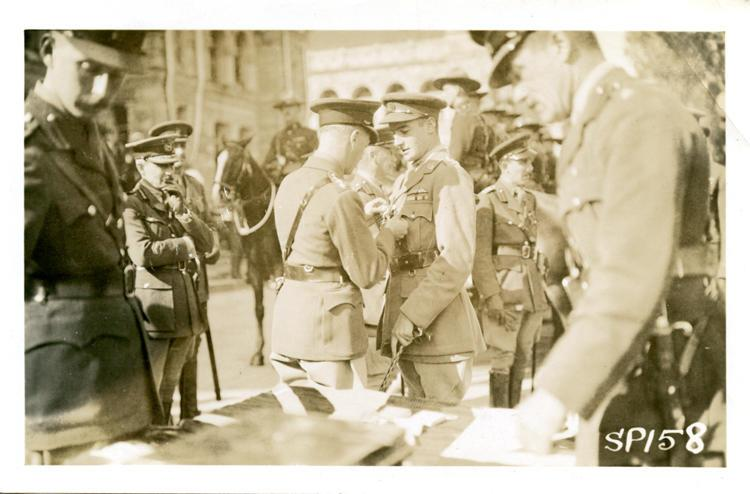 Photo, nd 33, Lancelot Duke receiving the Distinguished Flying Cross from Edward Prince of Wales.