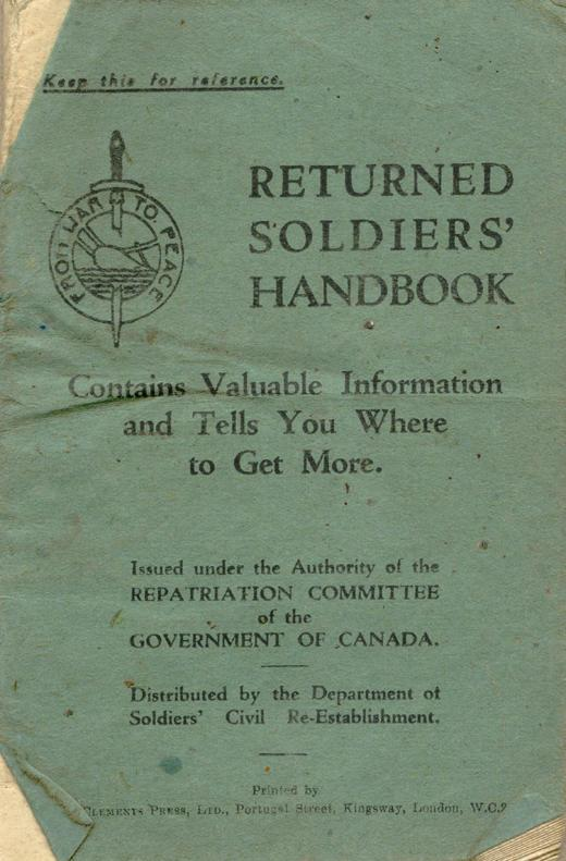 Returned Soldiers Handbook, nd, cover
