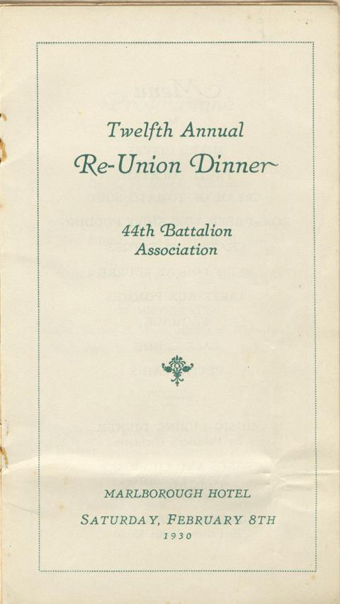 reunion dinner programme, 1914-1919, page 2