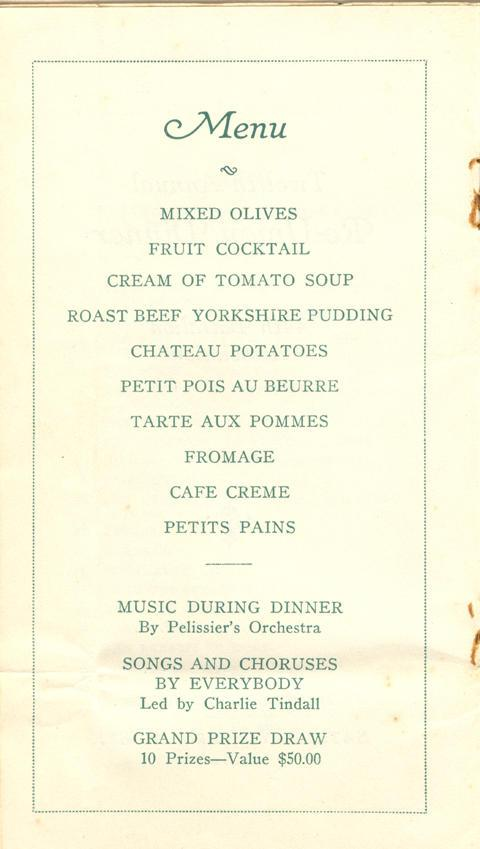 reunion dinner programme, 1914-1919, page 3