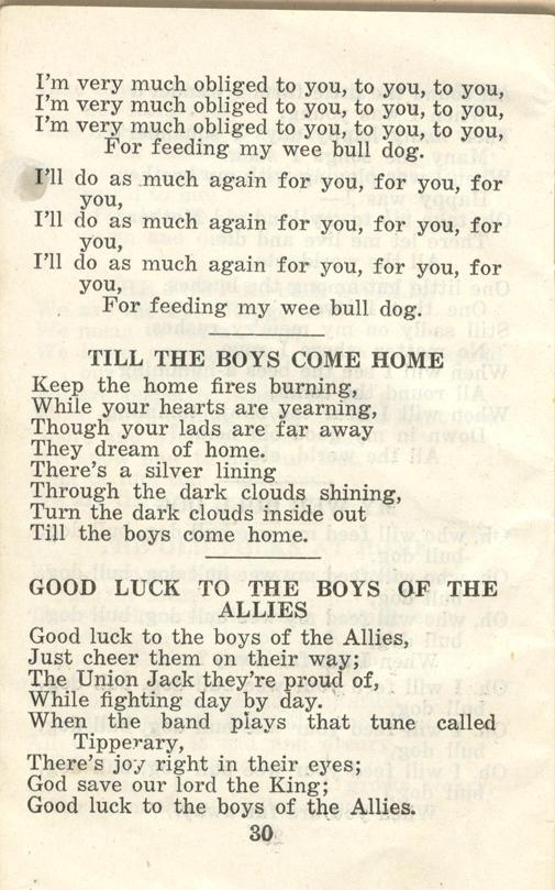 Winnipeg Rifles Songbook, nd, page 30