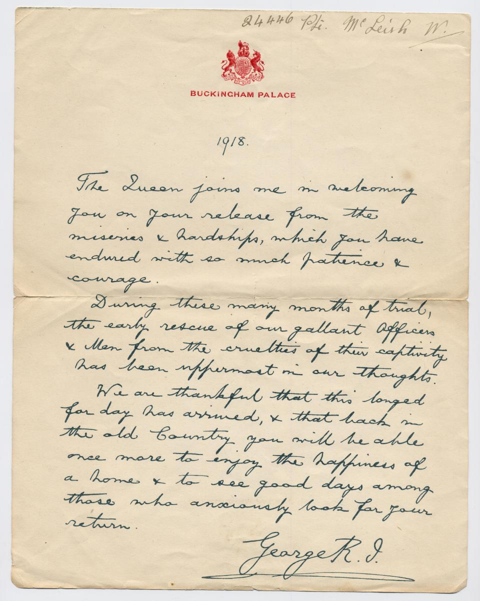 Letter from Buckingham Palace, 1918
