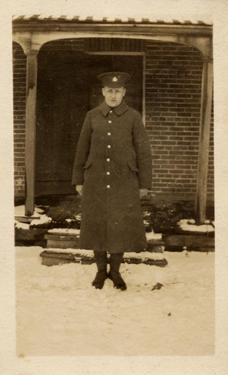 Jack McArthur taken at Lobo Ont in front of Mrs Lilian Fergus Home- 1st World War