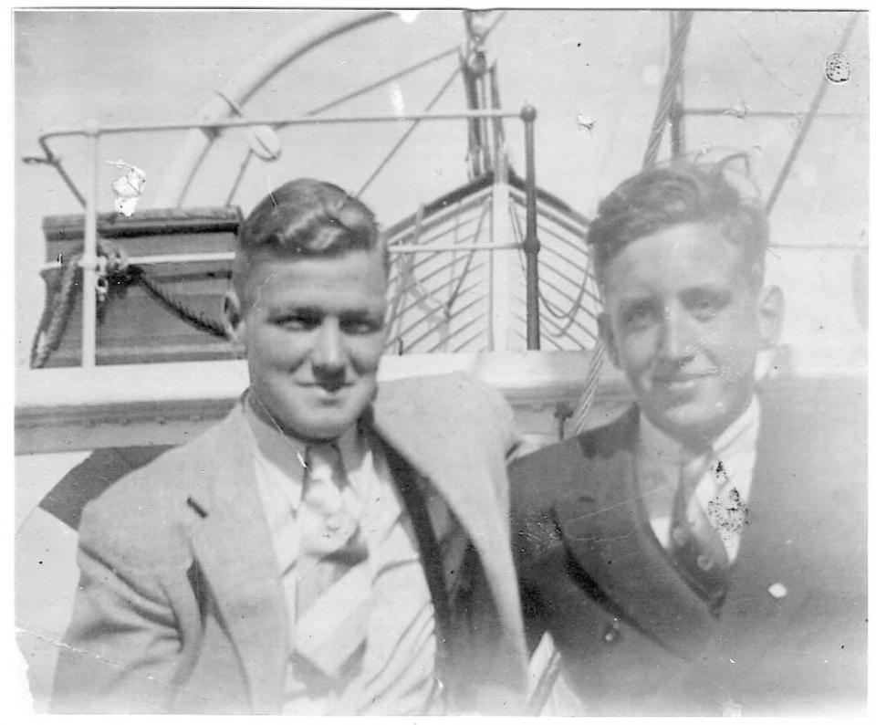 Daniel and Mel Coppell  Sailing off to join  Manchester Regiment September 1938