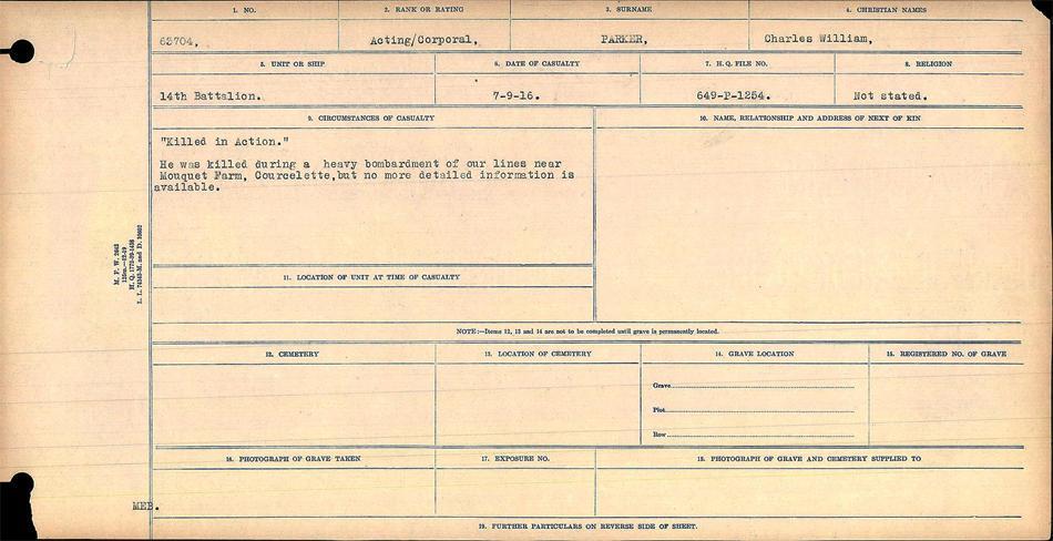 Circumstances of Death register