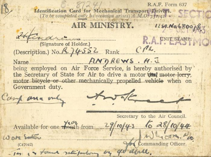 Air Ministry Identification Card, front