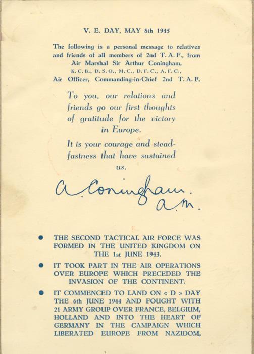 Card - May 8, 1945 - 2