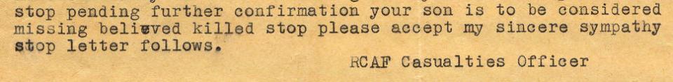 Morlidge Detail - November 12, 1942 - Telegram