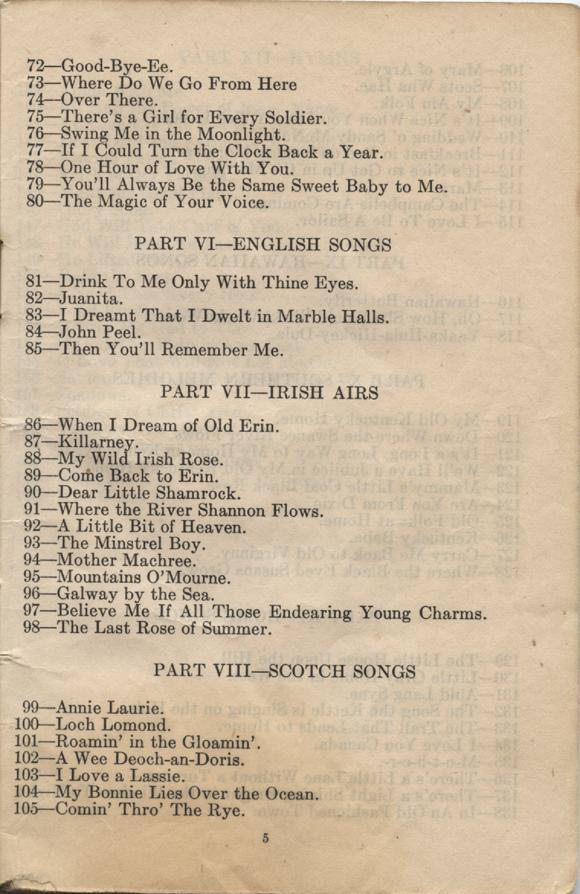 William Daniel Boon. Canadian Soldiers Songbook. Page 5.
