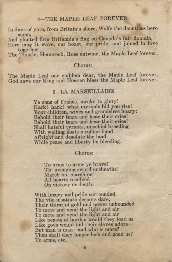 William Daniel Boon. Canadian Soldiers Songbook. Page 10.