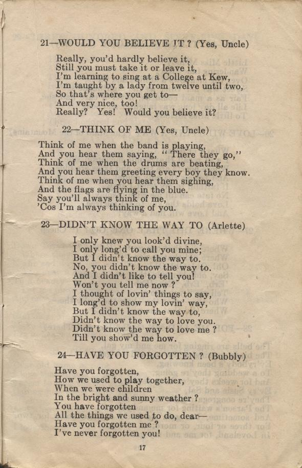 William Daniel Boon. Canadian Soldiers Songbook. Page 17.