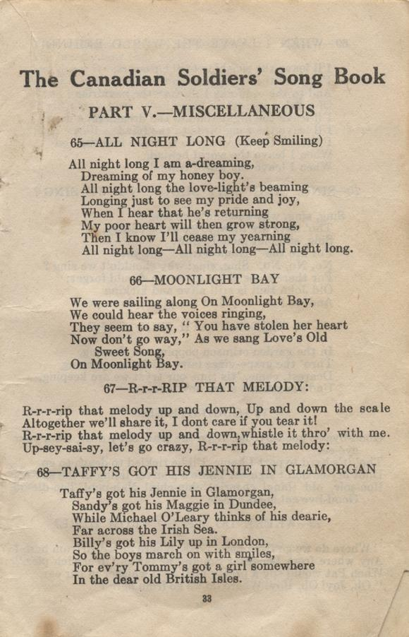 William Daniel Boon. Canadian Soldiers Songbook. Page 33.