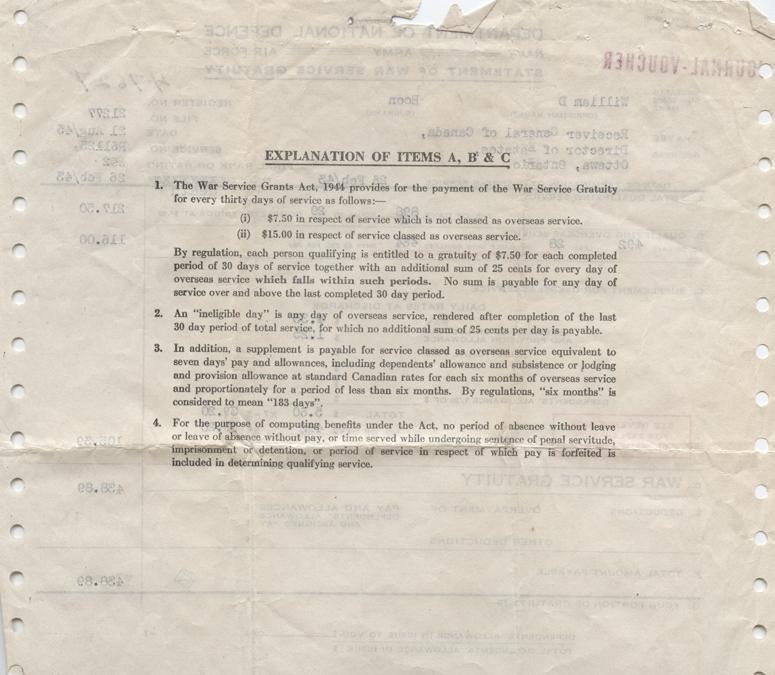 William Daniel Boon. August 21, 1945. Gratuity Statement. Back.