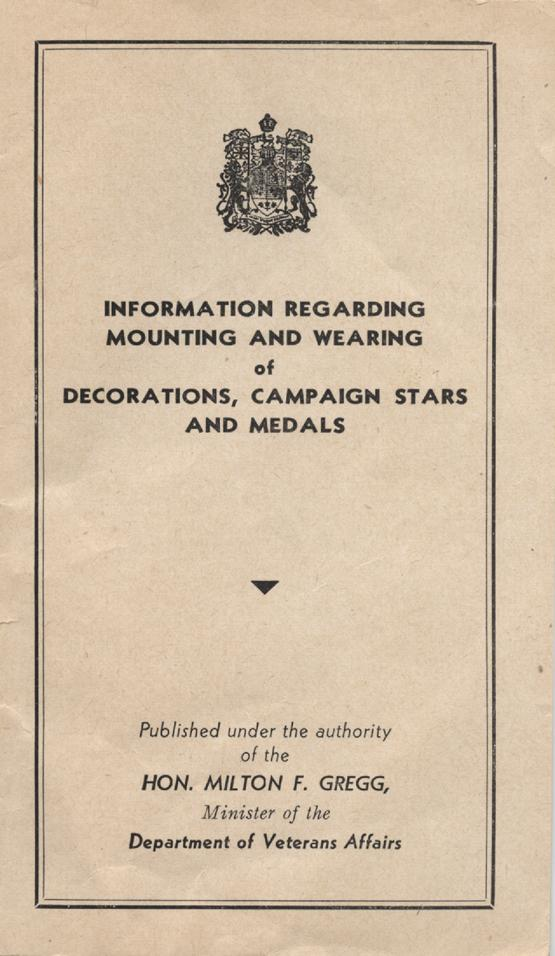 William Daniel Boon. Medal Booklet. Page 1.
