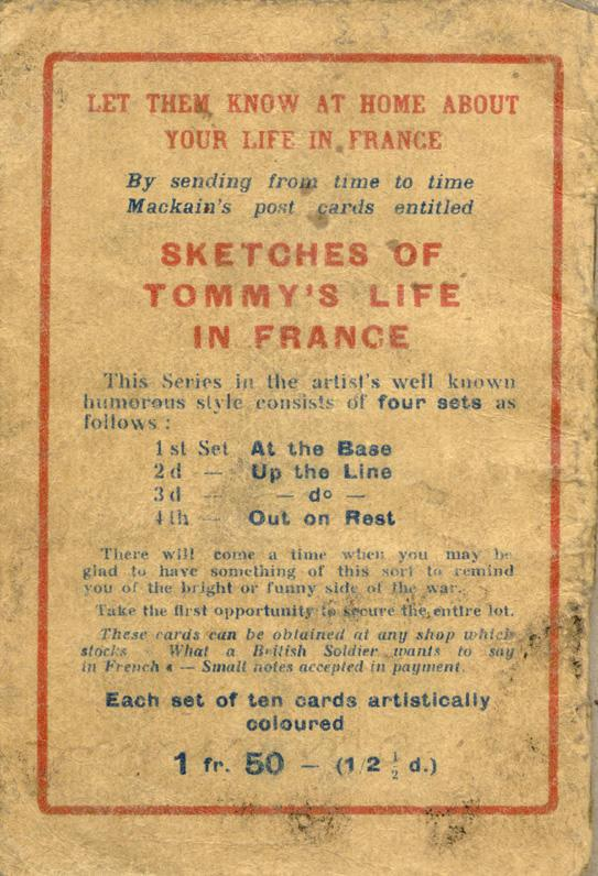 An English-French Booklet for the British Expeditionary Forces Back Cover