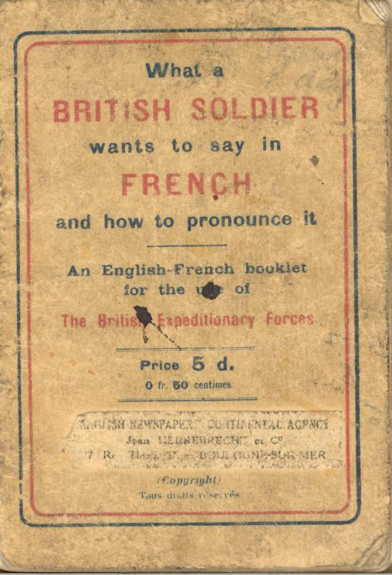 An English-French Booklet for the British Expeditionary Forces Front Cover
