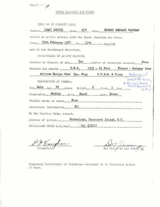 Certificate of Discharge, September, 1945.