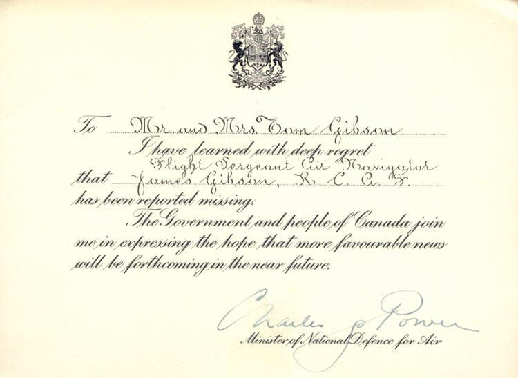 Condolence Card from Minister of National Defence For Air July 1944