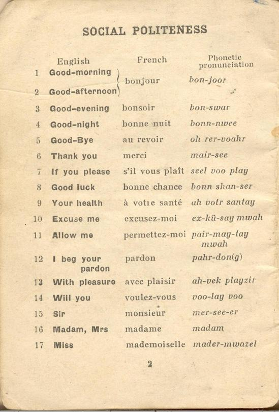 An English-French Booklet for the British Expeditionary Forces Page 2