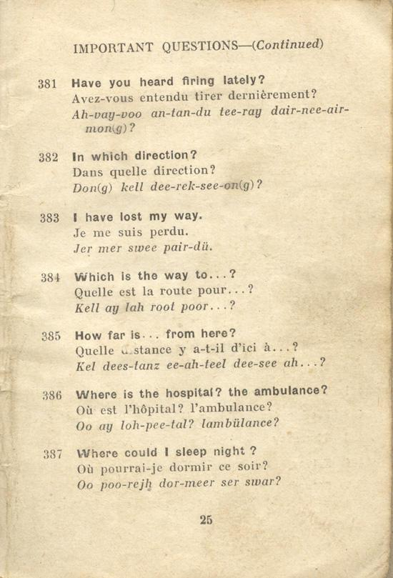 An English-French Booklet for the British Expeditionary Forces Page 25