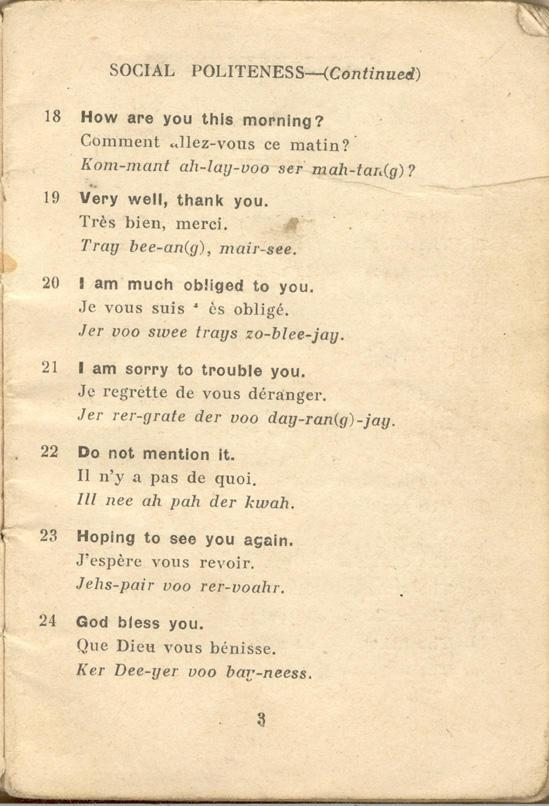 An English-French Booklet for the British Expeditionary Forces Page 3