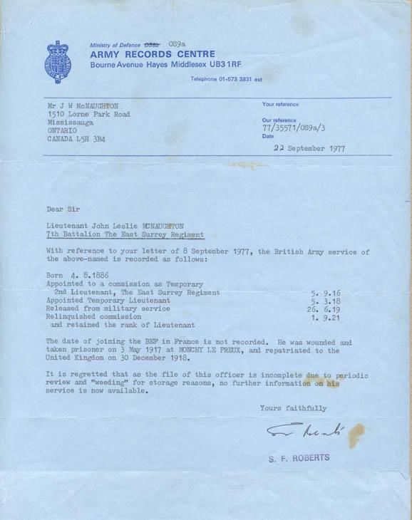 Army Records Centre Regarding information on Lieutenant John Leslie McNaughton September 22, 1977