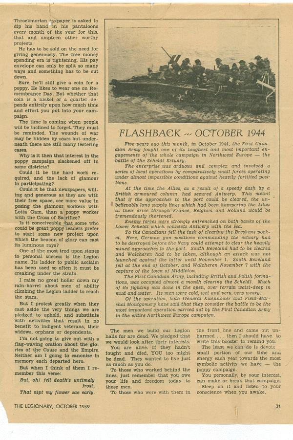 "Magazine clipping: ""Flashback 1944"""